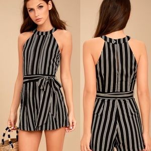 ANTHRO Moon River Cusco Black Striped Romper